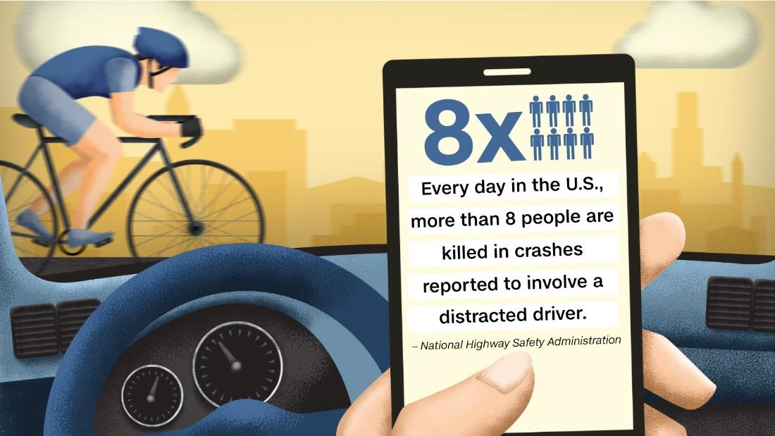 Every day, eight people in the U.S. are killed due to distracted driving.